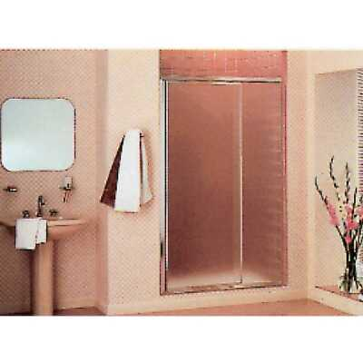 Sterling Vista Pivot II 36 In. W. X 65-1/2 In. H. Chrome Pebbled Glass Shower Door