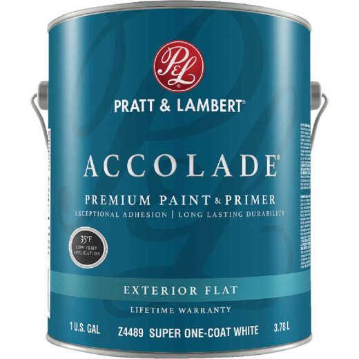 Pratt & Lambert Accolade 100% Acrylic Paint & Primer Flat Exterior House Paint, Super One Coat White, 1 Gal.